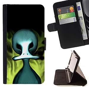 Momo Phone Case / Flip Funda de Cuero Case Cover - Monster Dibujo de Alien Big Head Arte Zombie - Huawei Ascend P8 (Not for P8 Lite)