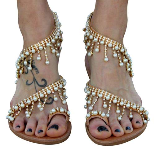 NuonuoCo Women's Toe Ring Pearl Sandals Bohemia Summer Sandals Beaded Flat Sandals for Women Wedding Sandals Golden
