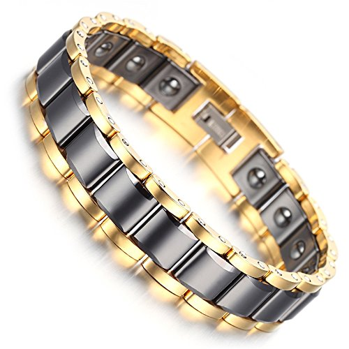 (HiTreasure Men's Black Ceramic Gold Tungsten Carbide Power Germanium Magnetic Therapy Link Bracelet for Arthritis Pain Relief(Imported,3000 Gaiss Each Link))