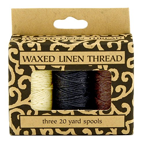 Linen Thread (Lineco Natural, Brown, Black 20yds Each Waxed Linen 5 Ply Thread 3/Pkg)
