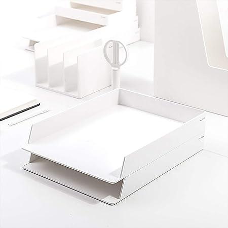 LXYWJJ Carpetas Carpeta, 2 Capas, Clip Horizontal, Acabado ABS, Caja de Archivo de Rack de Almacenamiento de Resina (32.5 * 24 * 4.5cm) Color: 4# Caja de Archivo (Color : Blanco): Amazon.es: Hogar