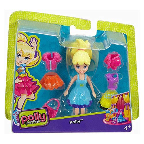 - Polly Pocket Fashion Small Pack Polly with Blue Dress