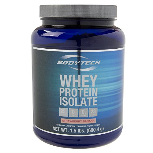BodyTech Whey Protein Isolate Powder with 25 Grams of Protein per Serving BCAA's Ideal for PostWorkout Muscle Building Growth, Contains Milk Soy Strawberry Banana (1.5 Pound)