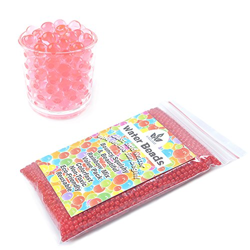 AINOLWAY 8 OZ Water Beads, Original Size Water Gel Bead Jelly Growing Balls for Kids Tactile Toys, Sensory Toys, Vase Filler (Red)