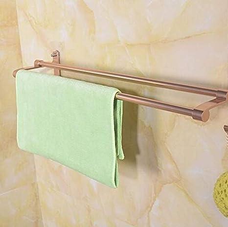 MoMingXH No ponche de Oro Rosa Toalla de pie de baño toallero Espacio de Aluminio Colgador