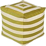 18'' Playhouse Lime Green and Beige Striped Square Pouf Ottoman