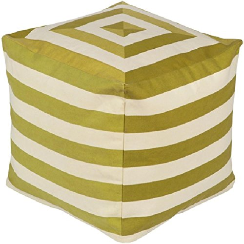 18'' Playhouse Lime Green and Beige Striped Square Pouf Ottoman by Diva At Home