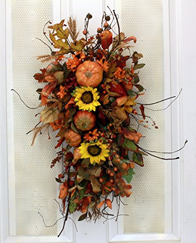 Autumn Joy Fall Wreath Teardrop Decorative Seasonal Accent Piece for Fall Front Door Indoor Autumn Home Decor (Mantels Fall Fireplace)
