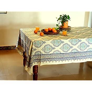 Morning Dew ~ Elegant Decorative Yellow Blue French Tablecloth 70x108