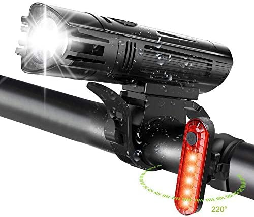WOTEK Bike Lights Set USB Rechargeable-Waterproof Cycle Lights with 380LM Rear 2