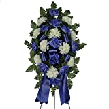 Blue Diamond Rose with White Mums Silk Standard on Easel by Sympathy Silks® (ST1638) Sale