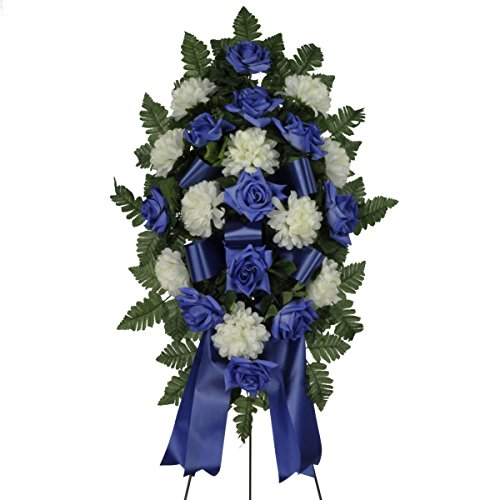 Blue Diamond Rose with White Mums Silk Standard on Easel by Sympathy Silks® (ST1638)