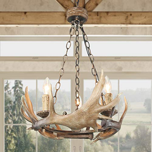 """LOG BARN 3 Lights Farmhouse Faux Antlers Chandelier in Hand-Polished Resin and Rusty Metal Finish, 19.7"""" Medium Center Island Pendant Lighting for Living Room"""