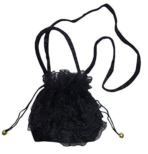 Eligant Black Classic Beautiful Victorian Gothic Velvet Lace Drawstring Evening Bag (Victorian Halloween)