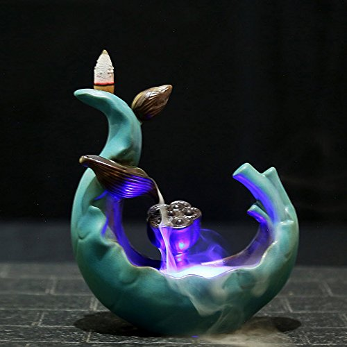 Spie Backflow Incense Burner Holder Ceramic Antique Creative LED Light Lotus Pond Aromatherapy Furnace Viewing Sandalwood Tea Ceremony Home Decoration (Included Battery)