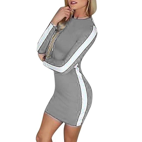 e4c1c69d0b4b friendGG Fashion Women Casual O-Neck Long Sleeve Patchwork Sexy Bodycon Mini  Dress Autumn Sweatshirt Winter Sweater Stripe Blouse Hoodie Work Business  ...