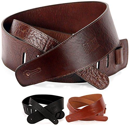 Genuine Leather Guitar Strap - Full Grain Leather Straps for Acoustic or Electric Guitars or Bass (Brown)