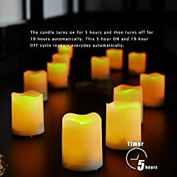 Battery Operated LED Votive Candles with Timer Realistic Flickering Flameless Tea Lights Set Bulk for Halloween Christmas Party Wedding Decorations 6 Pack Long Lasting 400 Hours Batteries Included