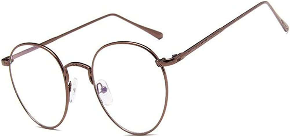 Aiweijia Bisagra de resorte de moda unisex de metal Frame Gafas Estilo vintage gafas redondas lente clara