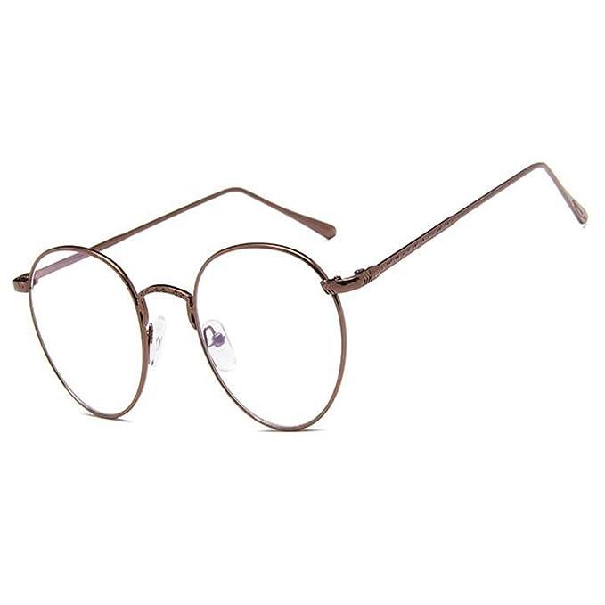 Retro Runde Metall Rahmen Brille Klare Linse Feder Scharnier Brille Damen Herren XOtnHlgBaY