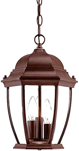 Acclaim 5036BW Wexford Collection 3-Light Outdoor Light Fixture Hanging Lantern, Burled Walnut