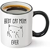 Best Cat Mom Ever Funny Coffee Mug 12oz - Unique Gift Idea for Cat Lovers - Perfect Birthday Gifts for Women - Rude Sarcastic Cat Meme