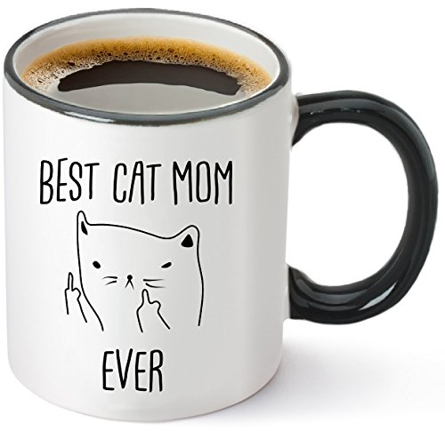Best Cat Mom Ever Funny Cat Gifts Coffee Mug Ceramic 12oz- Unique Novelty Gift Idea for Cat Lovers -Perfect Birthday or Christmas Present for Women - Rude Sarcastic Grumpy Cats Lady Mugs Memes Tea Cup