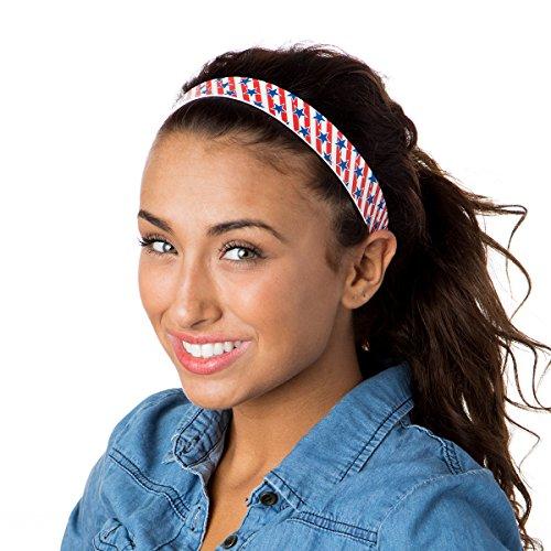 Hipsy Women's 2pk American Flag Adjustable No Slip Headbands Red, White & Blue