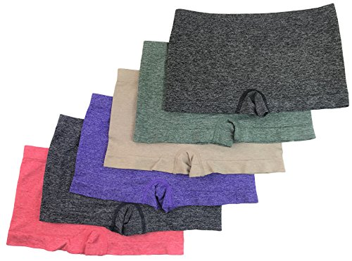 Boy Shorts Underwear (WS Women's Seamless Panty BoyShorts Stretch Classy Sexy Multi-3,6 or 12 Pack (HeatherBasic1-6pk))