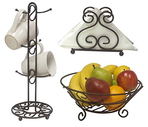 Deluxe Scroll Collection 3pc Kitchen Table Décor Set, Napkin Holder, Mug Tree Stand, Fruit Bowl - Bronze
