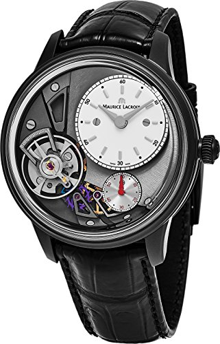 Maurice Lacroix Masterpiece Gravity Watch - White Open Dial 43mm Maurice Lacroix Watch Mens - Black Leather Band Swiss Automatic Watch MP6118-PVB01-130-1