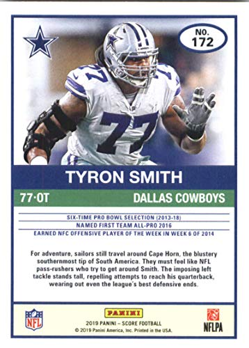 ec61a2752 Amazon.com: 2019 Score Football #172 Tyron Smith Dallas Cowboys Official NFL  Trading Card made by Panini: Collectibles & Fine Art