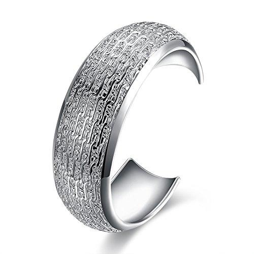 (Unisex Sterling Silver Plated Cuff Bangle Bracelet L83)