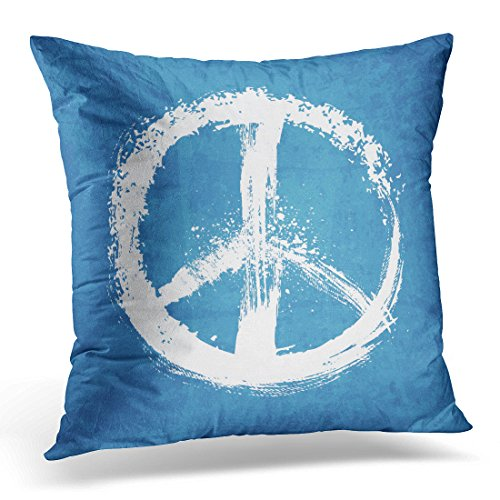 UPOOS Throw Pillow Cover White Symbol of Peace Sign Blue World Stroke Decorative Pillow Case Home Decor Square 18x18 Inches Pillowcase