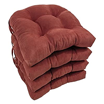 Blazing Needles Solid Microsuede U-Shaped Tufted Chair Cushions (Set of 4), 16