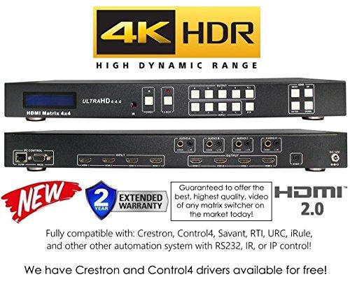 4x4 HDR HDMI 4K MATRIX SWITCHER HDCP2.2 HDTV ROUTING SELECTOR SPDIF AUDIO CRESTRON CONTROL4 SAVANT HOME AUTOMATION (4x4 HDMI MINI (4x4 Hdtv Matrix)
