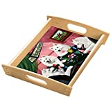 Home of Samoyeds 4 Dogs Playing Poker Wood Serving Tray