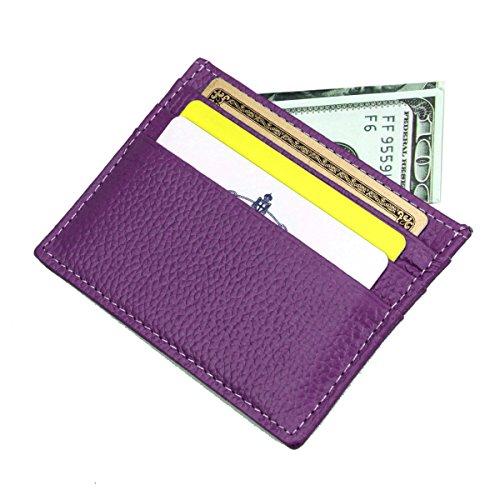 her RFID Blocking Card Case Wallet Slim Super Thin 6 Card Slots Compact Wallet - Purple ()