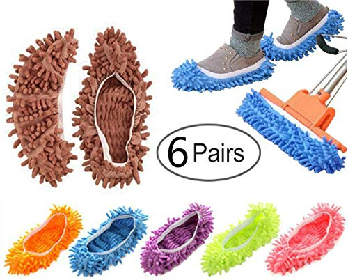 JM-capricorns Unisex Washable Multi-Function Dust Duster Mop Slippers Shoes Cover, Soft Washable Reusable Microfiber Foot Socks Floor Cleaning Tools Shoe Cover for House Kitchen Office (Free Size)