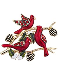 Holiday Christmas Xmas Red Bird Cardinal Rhinestone Brooch Pin