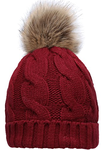 NEOSAN Women's Winter Ribbed Knit Faux Fur Pompoms Chunky Lined Beanie Hats Twist ()