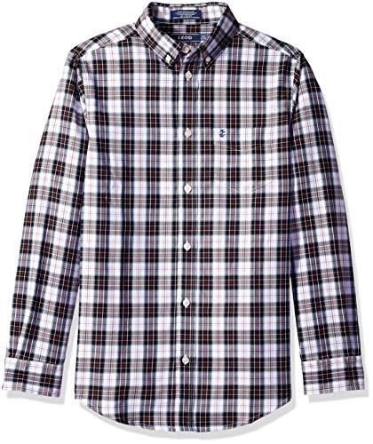 Izod boys Long Sleeve Gingham Button-Down Dress Shirt, Black, Small(8) (Boys Black Gingham Shirt)