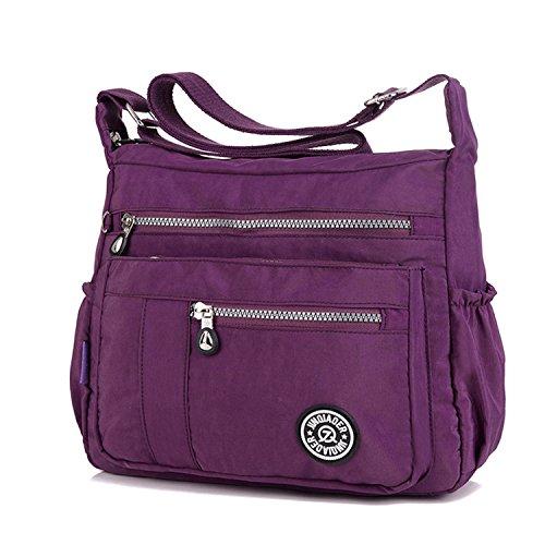 2 Zipper TianHengYi Bag Nylon with Cross Women's Messenger Purple Lightweight Shoulder Bag Pockets body Casual Hw6H4Fqx