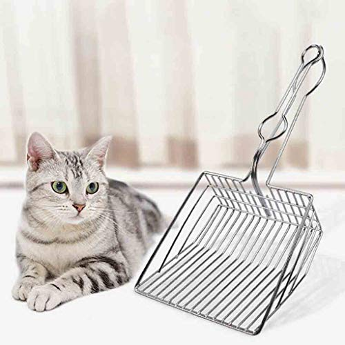 Price comparison product image DaoAG Pet Cat Toilet Litter Scoops Metal Cat Litter Scoops with Handle Hollow Clean Shovel Portable Cat Litter Shovel - Cat Box Scoop for Efficiently Cleaning (Silver)