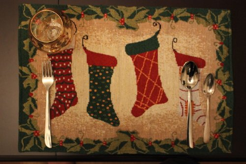 Tache 4 Piece Festive Christmas Holiday Hang My Stockings By the Fireplace Tapestry Placemat Set (Placemats Christmas For)