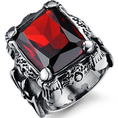 XAHH Men's Stainless Steel Vintage Gothic Red Ruby Crystal Dragon Claw Knight Cross Flower Large Ring (Crystal Ruby Ring)