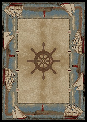 Dean Key West Coastal Beach Lodge Cabin Sailboat Area Rug Size: 5'3