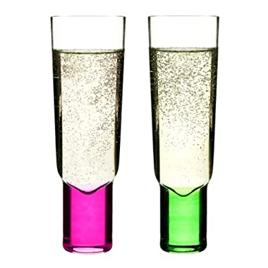 Sagaform Hand-Blown Champagne Glasses, Pink/Green, Set of 2
