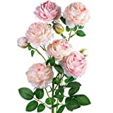 Artificial Flowers,Peony Silk Flowers Bouquet Home Bridal Wedding Party European Style Floral Decoration 9 Heads (Flesh pink& Light pink)