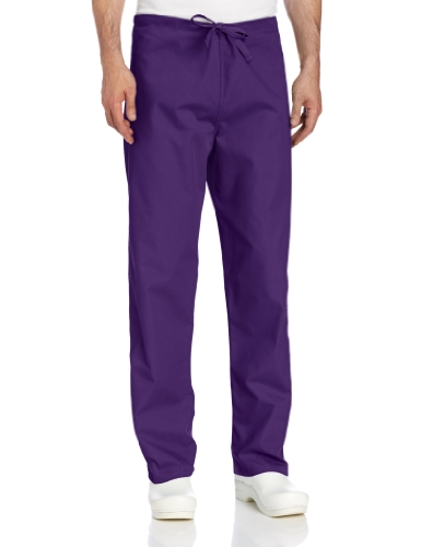 (Landau Comfort Stretch One-Pocket Reversible Drawstring Scrub Pant, Grape, Medium)